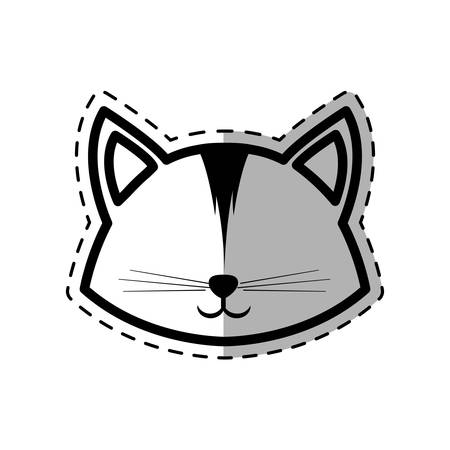 face cat animal domestic furry dot line shadow vector illustration eps 10 Illustration
