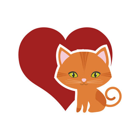 cat feline curious small red heart vector illustration eps 10