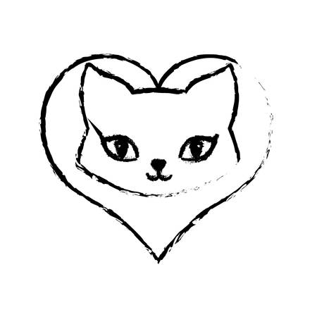 fondle: cat breed animal mammal love sketch vector illustration eps 10