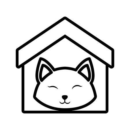 covering eyes: cat fluffy animal clossed eyes house pet outline vector illustration eps 10
