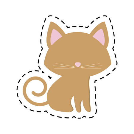 companionship: cat pedigree feline adorable cut line vector illustration eps 10
