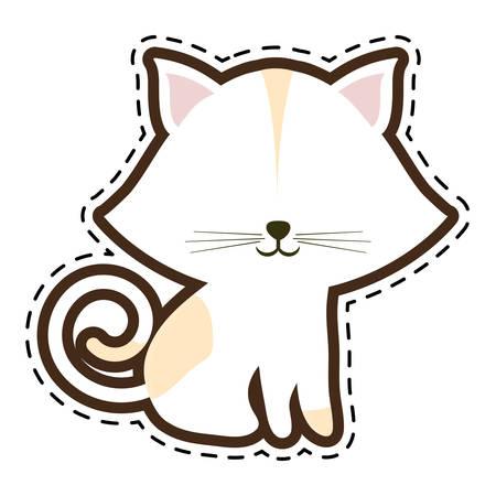 cat feline animal cut line vector illustration eps 10