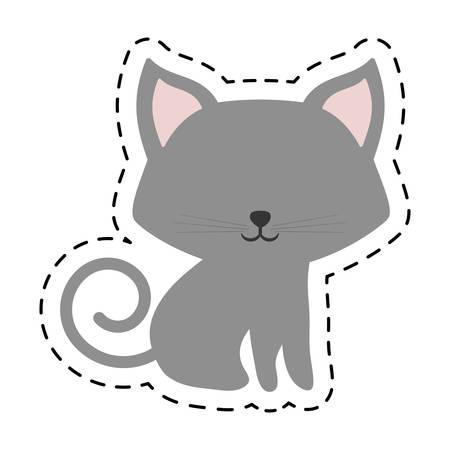 cat fluffy lovely animal cut line vector illustration eps 10