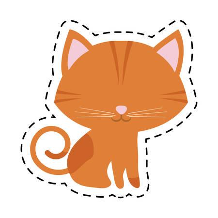 cat feline curious small cut line vector illustration eps 10 Illustration