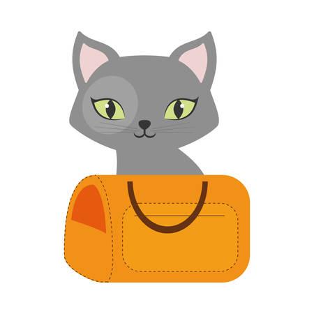 green eyes: gray small cat green eyes yellow pet carrier traveling vector illustration eps 10 Illustration