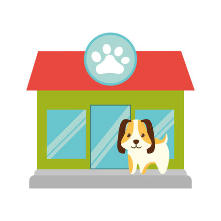 puppy little pet domestic pet shop facade paw print vector illustration eps 10 Illustration