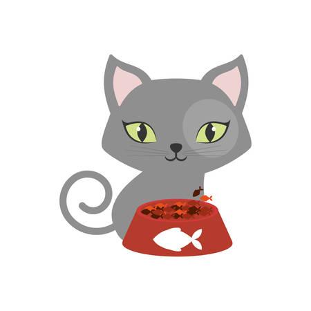 gray small cat green eyes plate food fish print vector illustration eps 10
