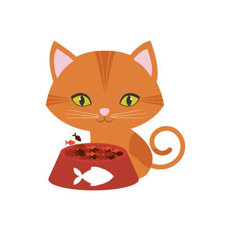 eating food: orange cat green eyes plate food fish print vector illustration eps 10