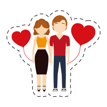 couple affection red hearts balloon vector illustration eps 10