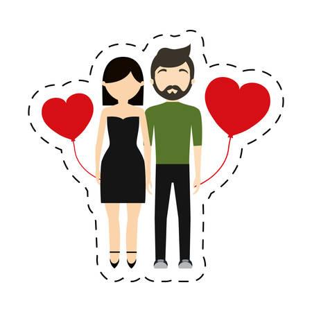 couple fashionable modern red hearts balloon vector illustration eps 10