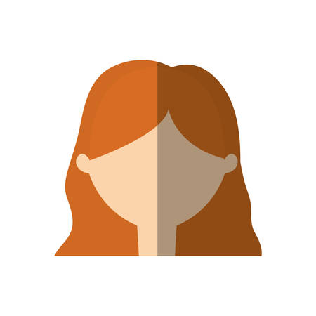 woman shadow: avatar woman face young person shadow vector illustration eps 10