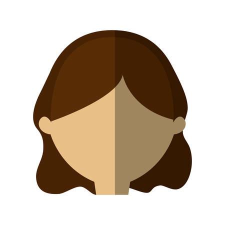 woman shadow: avatar woman face brunette hair shadow vector illustration eps 10 Illustration
