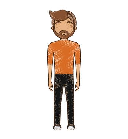 drawing avatar man hipster bearded standing vector illustration eps 10 Illustration