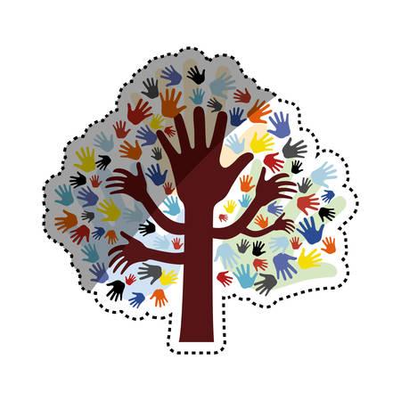 colrful: Human hand symbol icon vector illustration graphic design