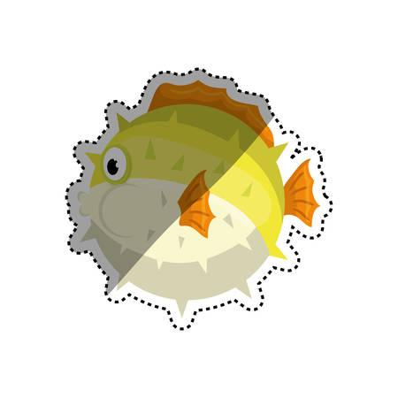 Mar de iconos de animales peces ilustración vectorial diseño gráfico
