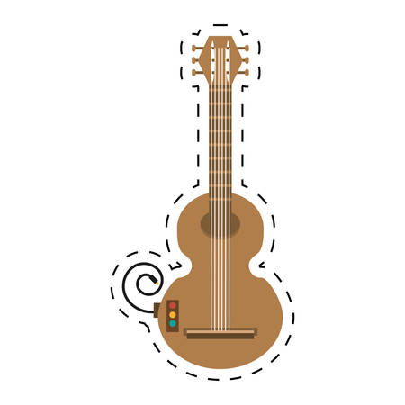 guitar musical instrument icon dotted line vector illustration eps 10