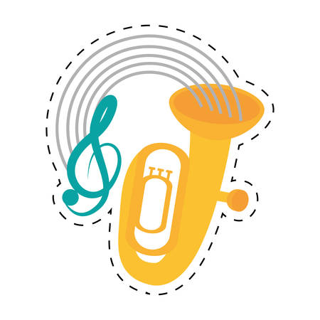 brass wind: tuba wind brass music instrument dotted line vector illustration eps 10