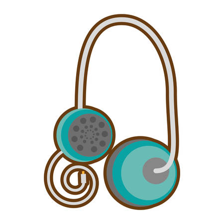 cartoon earphones music note cable vector illustration eps 10