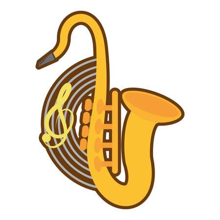 cartoon saxophone musical instrument wind vector illustration eps 10