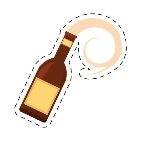 alcoholismo: bebida de la botella de cerveza verter la ilustración línea de puntos del vector EPS 10