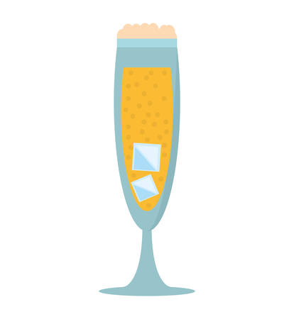 champagne bubbles: glass cup champagne bubbles ice vector illustration eps 10