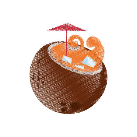 Drawing Coconut Cocktail Exotic Drink Ice Umbrella Vector Illustration Eps 10 Stock