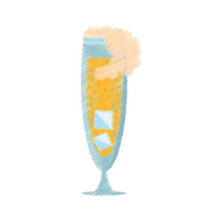 champagne bubbles: drawing glass cup champagne bubbles ice vector illustration eps 10