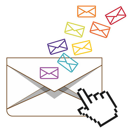email related icons image full color  vector illustration design Illustration