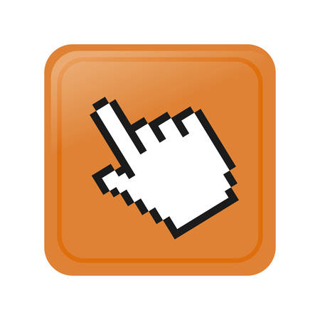 pixelated hand cursor button image vector illustration design