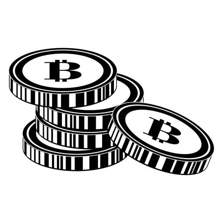 coin with letter b money related icon image black and white  vector illustration design