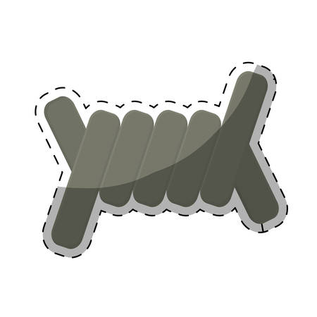 chainlink fence: barbed wire section  icon image vector illustration design Illustration