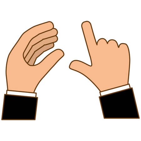 gesture of hands holding and tapping icon image vector illustration design Illustration