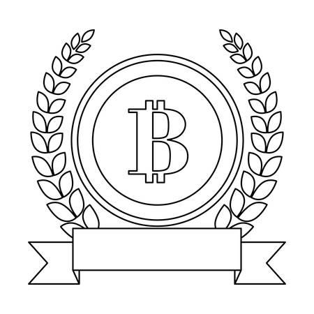 letter B as emblem embellished with laurel wreath and blank ribbon banner bank related icons image vector illustration design