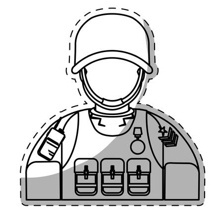 ranger: soldier army related  icons image vector illustration design