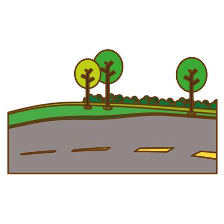 舗装された道路沿道のアイコン画像ベクトル イラスト デザインに木があります。  イラスト・ベクター素材