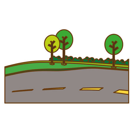 paved road with trees on the roadside icon image vector illustration design Illustration