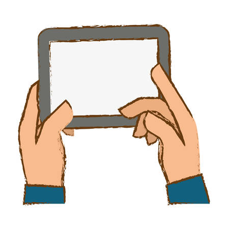 hands holding tablet icon image sketch style vector illustration design Illustration