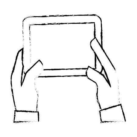 palmtop: hands holding tablet icon image sketch style vector illustration design Illustration