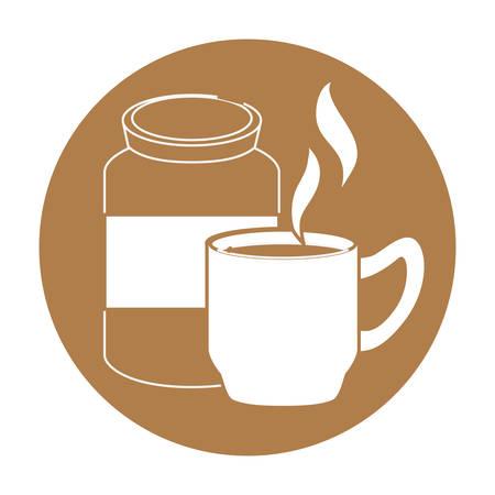 flavored: coffee related emblem button image vector illustration design Illustration