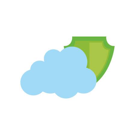 Cloud computing security system icon vector illustration graphic design Illustration
