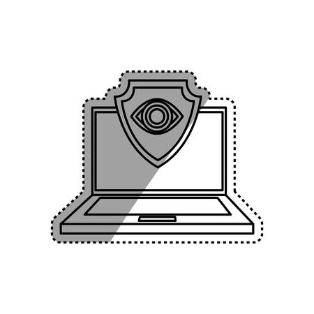 lock block: Cloud computing security system icon vector illustration graphic design Illustration