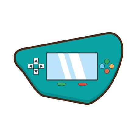 handheld device: cartoon green video gamepad portable technology vector illustration eps 10