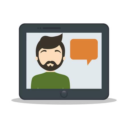 inter: tablet man bubble speech chat vector illustration eps 10 Illustration