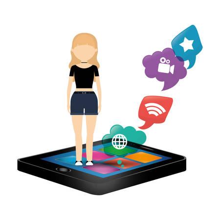 woman smartphone social media bubble speech vector illustration