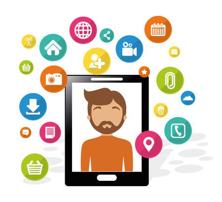 inter: smartphone man social media application vector illustration eps 10 Illustration