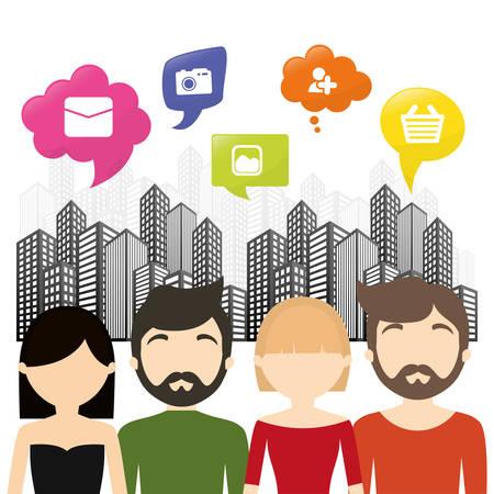 leasing: group communication bubble speech urban background vector illustration