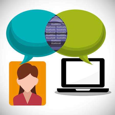 inter: laptop girl message email inter technology vector illustration eps 10 Illustration