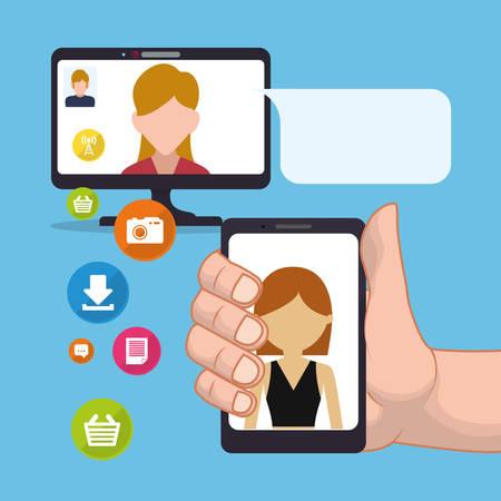 hand hold smartphone woman sending email social media vector illustration