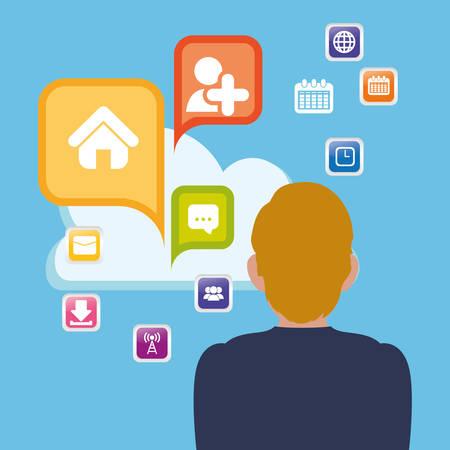 inter: man cloud apps cloud social media vector illustration Illustration