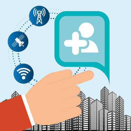 inter: hand connection social media network internet city vector illustration Illustration
